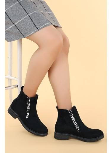 Ayakland Ayakland N901-07 Süet Termo Taban Kadın Bot Ayakkabı Siyah
